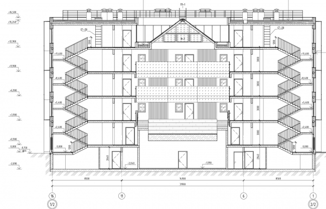 Кампус университета ИТМО. Общежития. Первый блок. Разрез 1