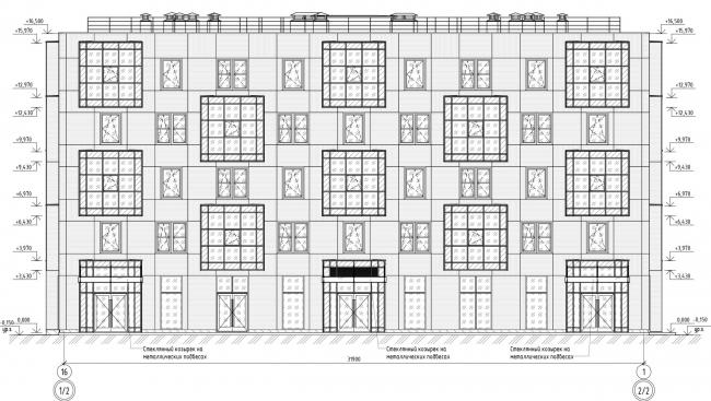 Кампус университета ИТМО. Общежития. Первый блок. Фасад 16-1