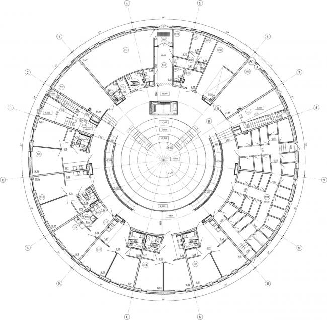 Кампус университета ИТМО. Общежития. Третий блок. План первого этажа