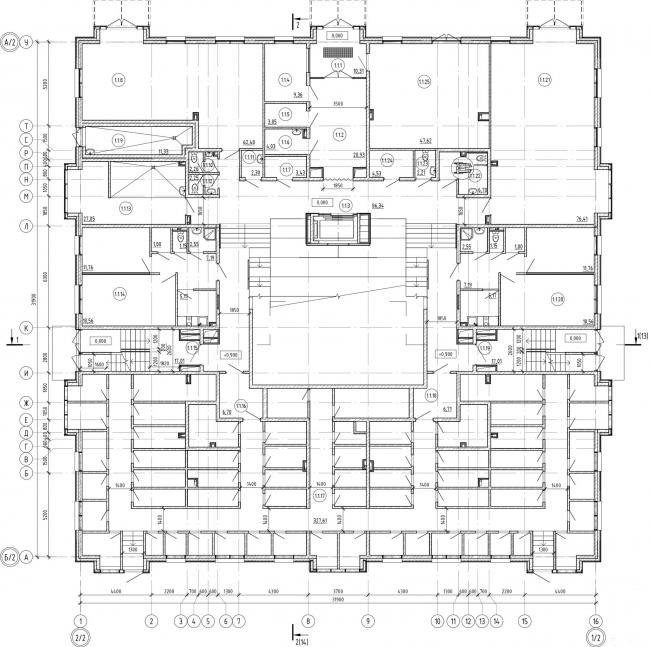 Кампус университета ИТМО. Общежития. Первый блок. План первого этажа
