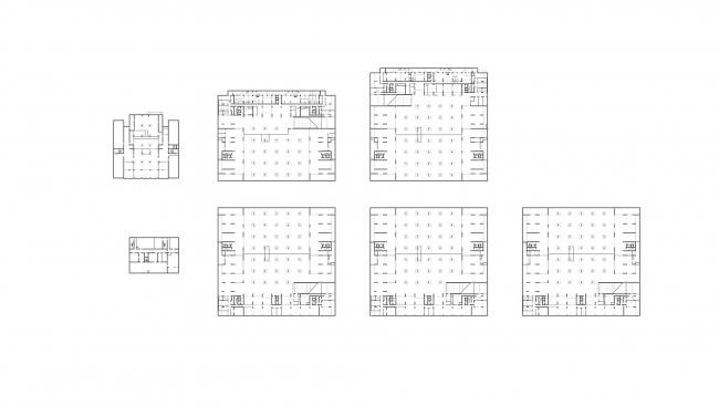 """Жилой комплекс """"HOMECITY"""". План -1 этажа. Приямки видны на планах 1 и 2 корпусов"""