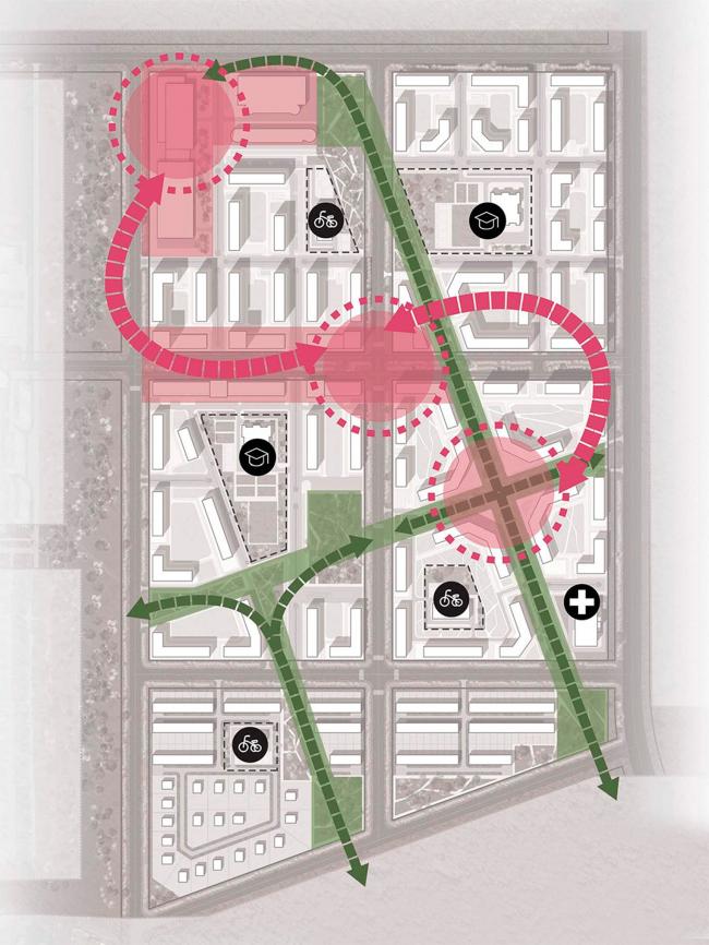 Вариант 1 – «Лучи». Схема организации территории. Концепции архитектурно-планировочного решения микрорайона в городе Саров