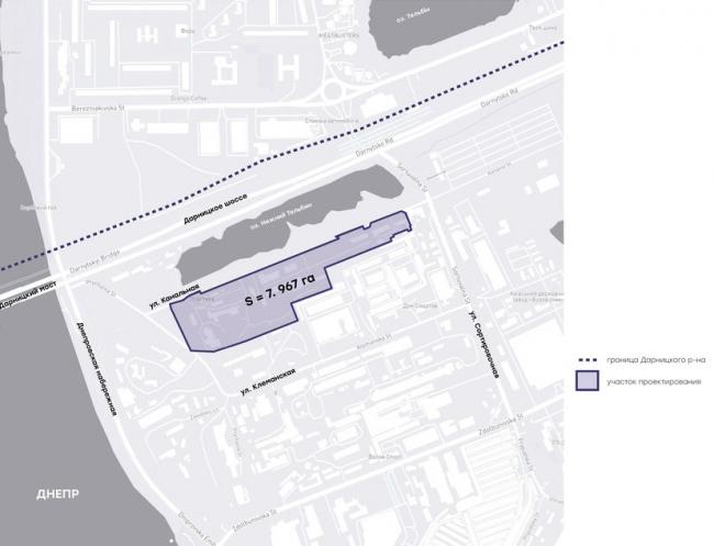 Схема размещения участка проектирования. Бизнес центр на улице Канальная