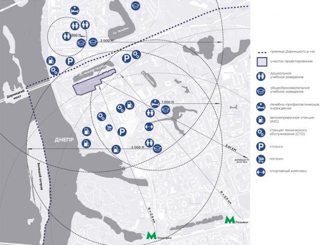 Схема размещения объектов обслуживания. Бизнес центр на улице Канальная