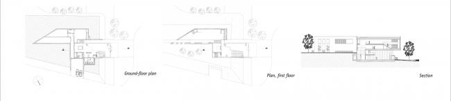 Музей искусств Лиссе. Планы первого и второго этажей, разрез