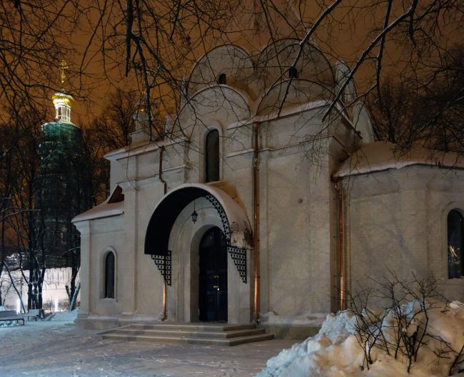 Общий вид. Зима. Храм Усекновения главы Иоанна Предтечи у Новодеичьего монастыря
