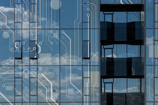 Фрагмент остекления фасада . Научно-технический центр ПАО «Татнефть»
