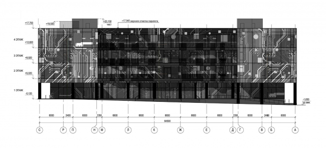 Фасад С-А. Научно-технический центр ПАО «Татнефть»
