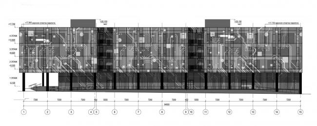 Фасад 1-15. Научно-технический центр ПАО «Татнефть»
