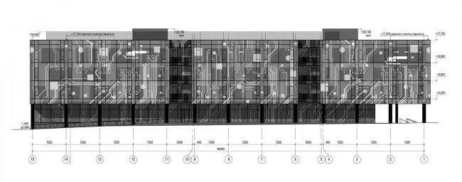 Фасад 15-1. Научно-технический центр ПАО «Татнефть»