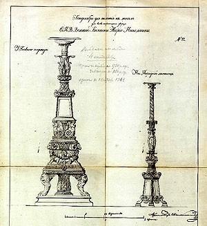 Штакеншнейдер: Проект медных канделябров для Мариинского дворца