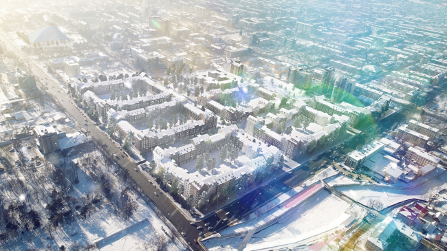 Вид с высоты птичьего полёта  на 4 мкр. Разработка архитектурно-градостроительной концепции развития городского округа «Город Южно-Сахалинск»