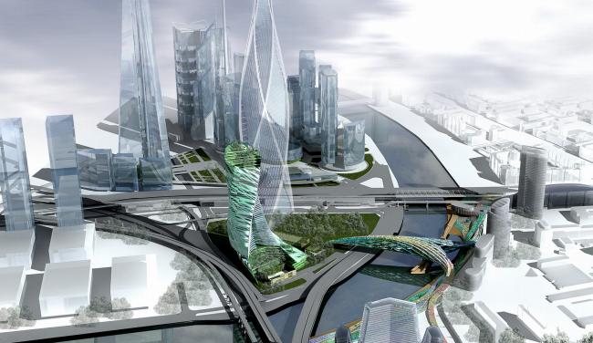 Концепция застройки 24 И 25 участка ММДЦ «Москва-Сити». 1 вариант © Проект КС