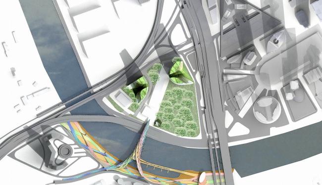 Концепция застройки 24 И 25 участка ММДЦ «Москва-Сити». 4 вариант © Проект КС