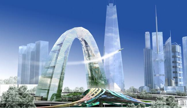 Концепция застройки 24 И 25 участка ММДЦ «Москва-Сити». 2 вариант («арка»)© Проект КС
