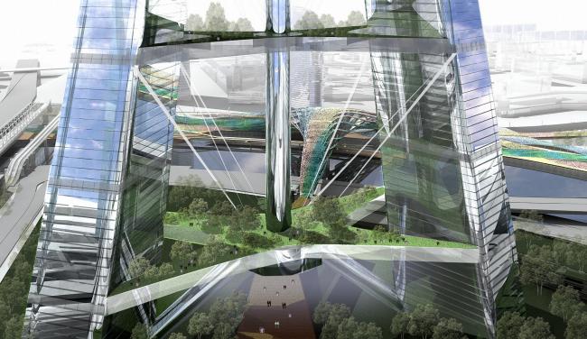 Концепция застройки 24 И 25 участка ММДЦ «Москва-Сити». 3 вариант. Висячие сады на «перемычках жесткости» © Проект КС