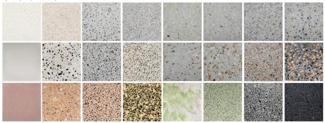 Цвета и виды обработки поверхности