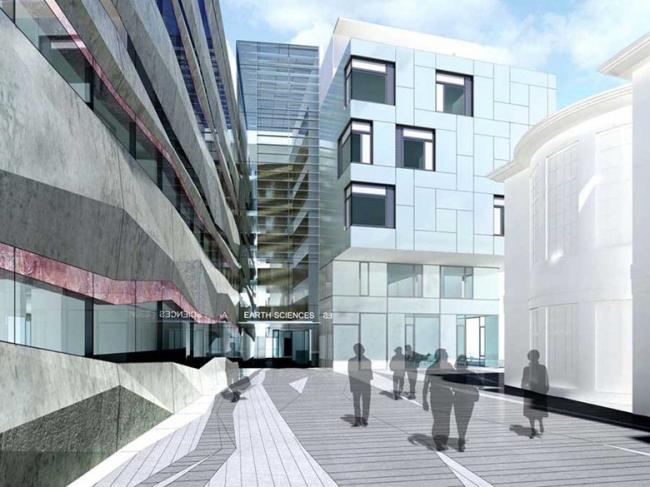 Факультет наук о Земле Оксфордского университета. «Повествовательная стена» – слева