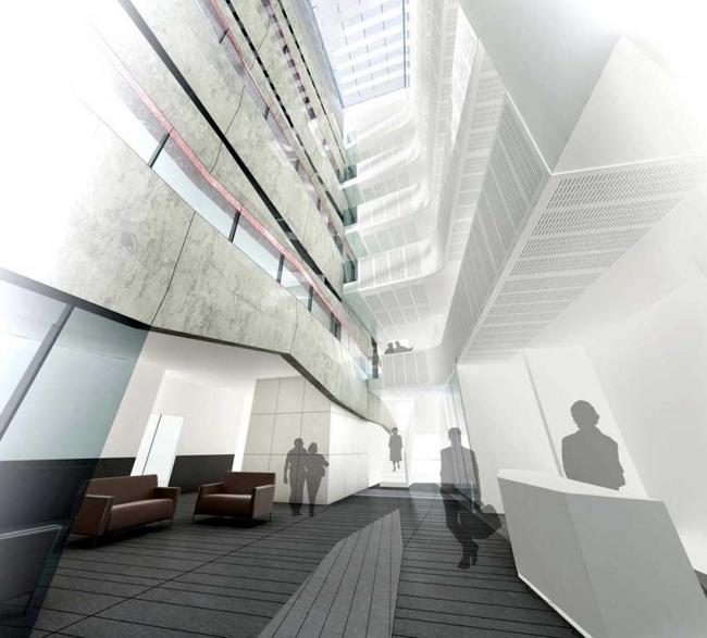 Факультет наук о Земле Оксфордского университета. Атриум. «Повествовательная стена» – слева © Wilkinson Eyre Architects