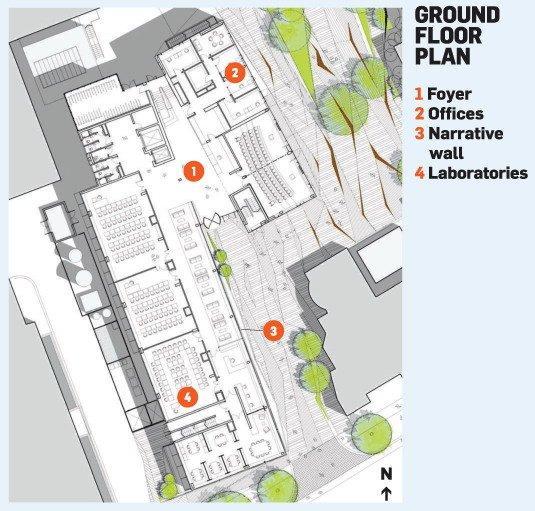 Факультет наук о Земле Оксфордского университета. План-схема 1 этажа