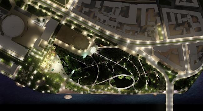"Romantic park ""Tuchkov Buyan"". The lighting"