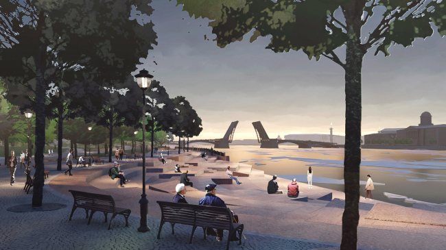 """One of the key narratives of the project – watching the sunsets on the river and watching the city from numerous angles. Romantic park """"Tuchkov Buyan"""""""