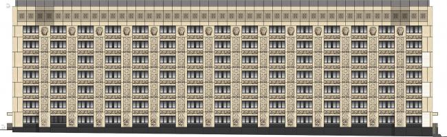 Городская клиническая больница №23 им. И.В. Давыдовского. Реконструкция корпуса 4. Фасад по Землянскому пер.