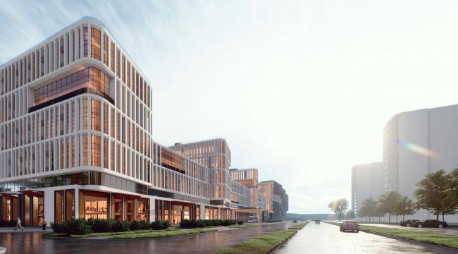 Архитектурно-градостроительный облик гостиницы. Вариант 11-7 этажей