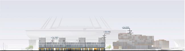 Развертка по Приморскому проспекту. Архитектурно-градостроительный облик гостиницы. Вариант 11-7 этажей