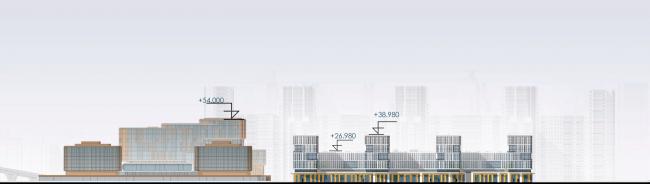 Развертка по набережной. Архитектурно-градостроительный облик гостиницы. Вариант 11-7 этажей