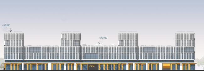Северный фасад, по Приморскому проспекту. Архитектурно-градостроительный облик гостиницы. Вариант 11-7 этажей