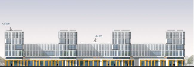 Южный фасад, по набережной. Архитектурно-градостроительный облик гостиницы. Вариант 11-7 этажей