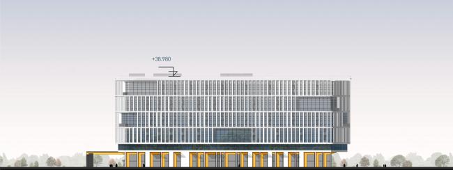 Восточный фасад. Архитектурно-градостроительный облик гостиницы. Вариант 11-7 этажей