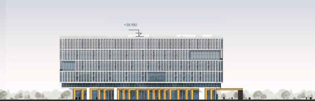 Западный фасад. Архитектурно-градостроительный облик гостиницы. Вариант 11-7 этажей