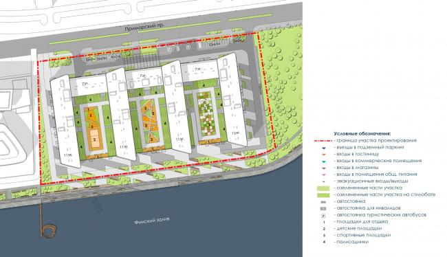 Схема генерального плана. Архитектурно-градостроительный облик гостиницы. Вариант 11-7 этажей