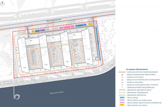 Транспортная схема. Архитектурно-градостроительный облик гостиницы. Вариант 11-7 этажей