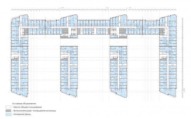 План 4-го этажа.  Архитектурно-градостроительный облик гостиницы