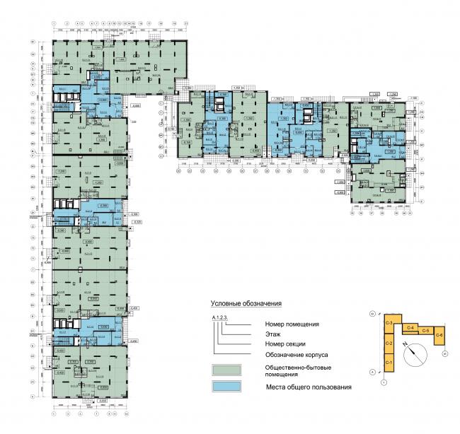 Секции 1-5. План 1 этажа. Секция 6. План 1 этажа. ЖК Облака