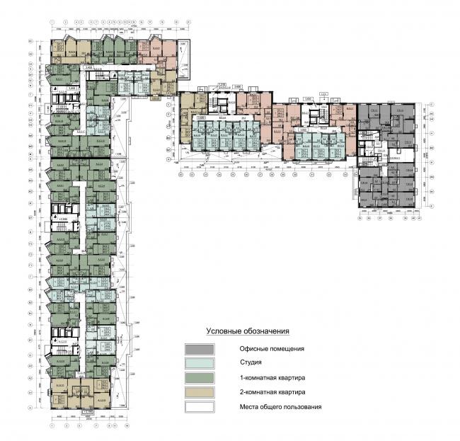 Секции 1-5. План 2 этажа на отм. +3.600 Секция 6. План 2 этажа на отм. +1.650. ЖК Облака