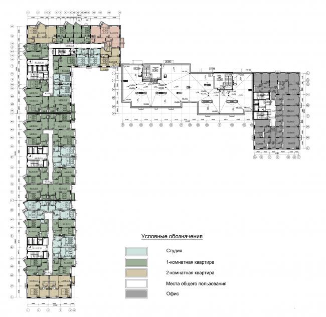 Секции 1-3. План 15-17 этажей на отм. +40.650; +43.500; +46.350 Секции 4-5. План кровли на отм. +41.122 Секция 6. План 8-17 этажей на отм. +21.600 – 47.250. ЖК Облака