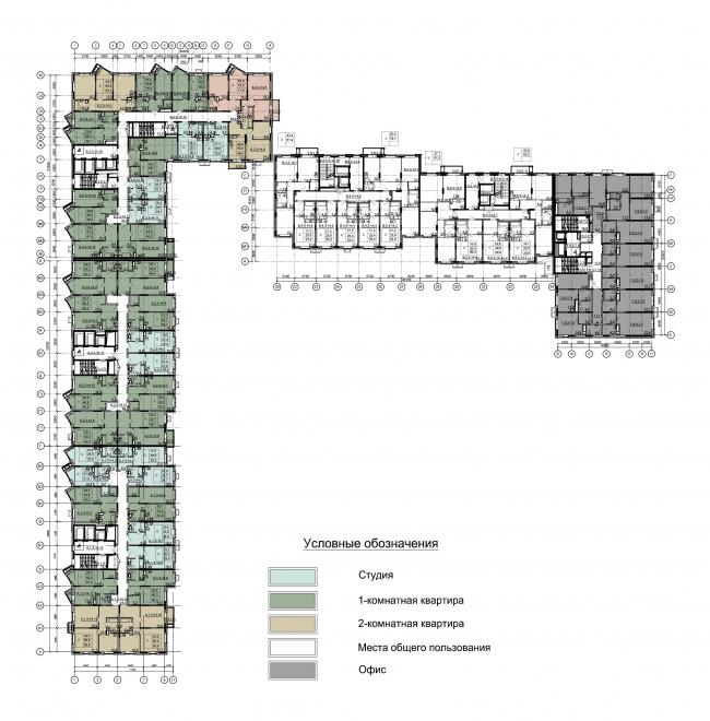Секции 1-5. План 3-14 этажей на отм. +6.450 – +37.800 Секция 6. План 3-7 этажей на отм. +4.500 – +18.750. ЖК Облака