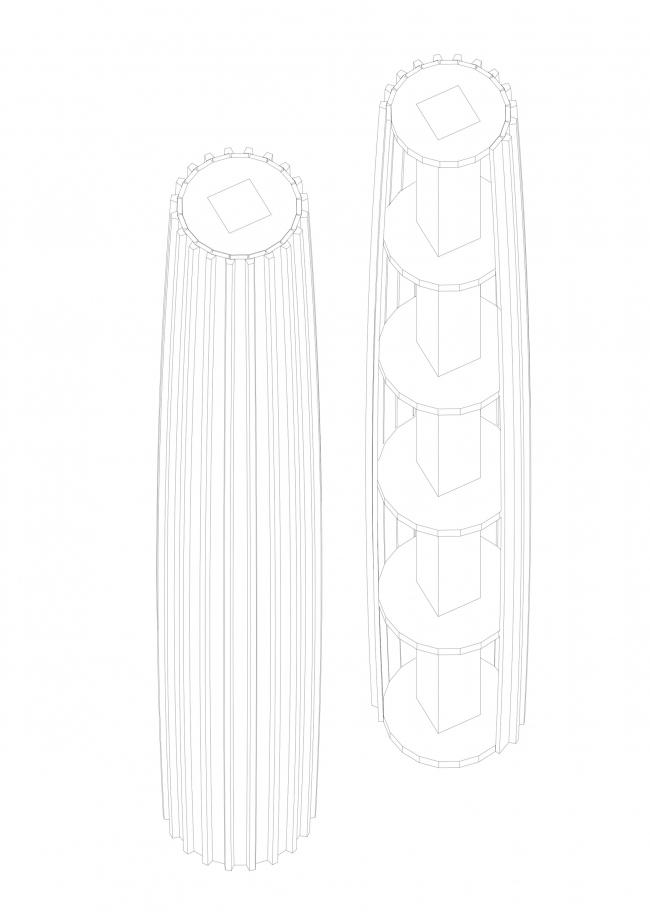 Проект колонны. Мастерская Артёма Никифорова в Репино