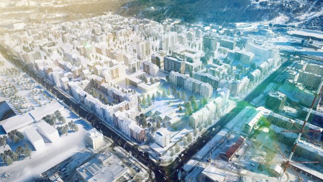 Вид с высоты птичьего полёта  на 8 мкр. Разработка архитектурно-градостроительной концепции развития городского округа «Город Южно-Сахалинск»