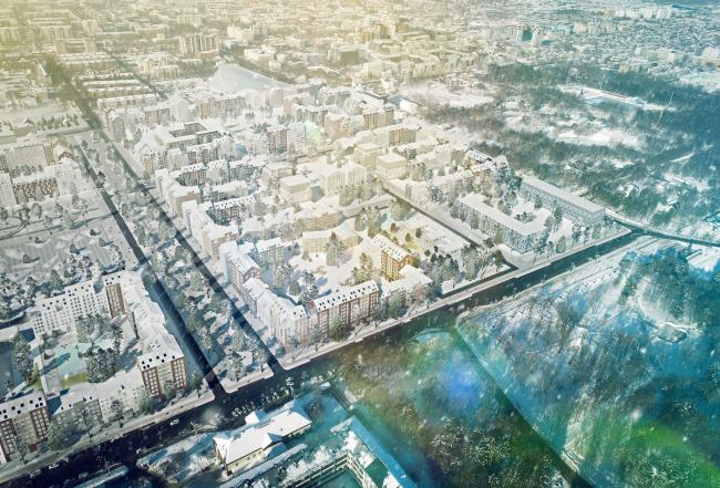 Вид с высоты птичьего полёта  на 7 мкр. Разработка архитектурно-градостроительной концепции развития городского округа «Город Южно-Сахалинск»