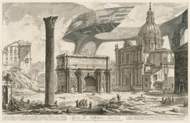 "The Imprint of the Future. Architectural fantasy inspired by Piranesi etching ""Arco di Settimio Severo"""