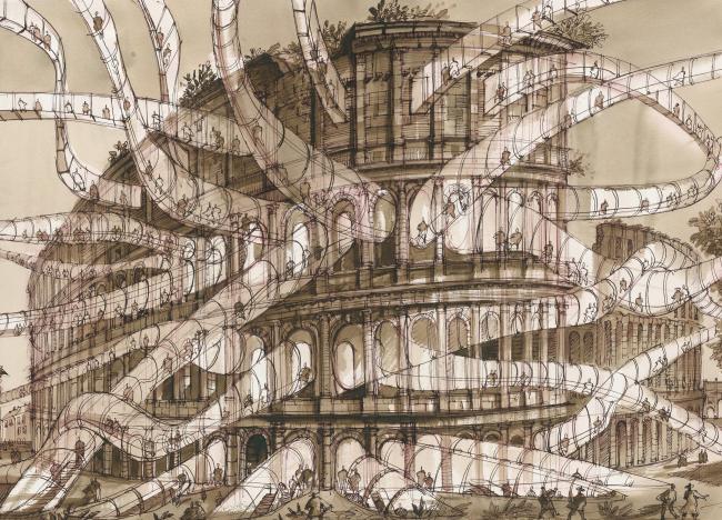 """Оттиск будущего. Архитектурная фантазия на тему офорта Пиранези  """"Veduta dell′Anfiteatro Flavio, detto il Colosseo"""""""