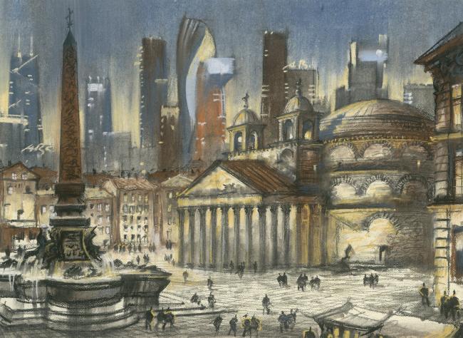 """The Imprint of the Future. Architectural fantasy inspired by Piranesi etching """"Veduta della Piazza della Rotonda"""""""