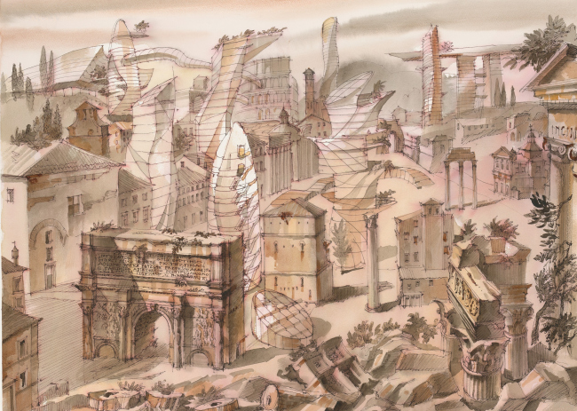 """The Imprint of the Future. Architectural fantasy inspired by Piranesi etching """"Veduta di Campo Vaccino"""""""