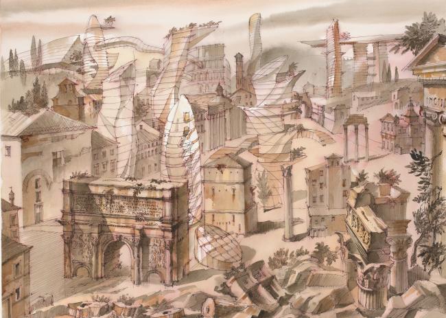 """Оттиск будущего. Архитектурная фантазия на тему офорта Пиранези  """"Veduta di Campo Vaccino"""""""