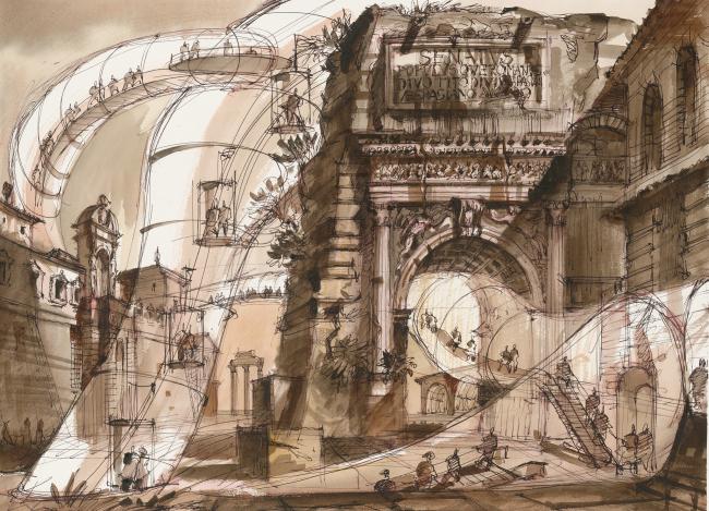 "The Imprint of the Future. Architectural fantasy inspired by Piranesi etching ""Veduta dell′Arco di Tito"""